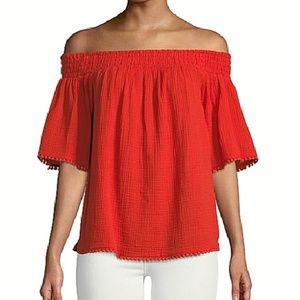 Rachel Roy Orange Smocked Off shoulder Blouse Top